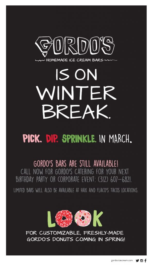 Gordo's is on Winter Break. See you in March!